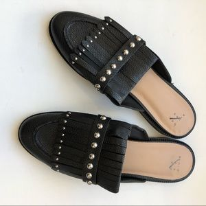 A New Day Black Studded Mules Size 9